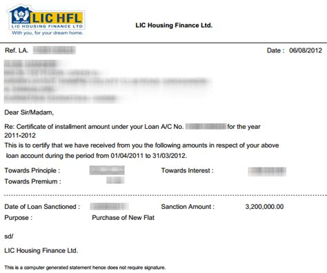 Lic Housing Finance Letter lichfl generating home loan statement