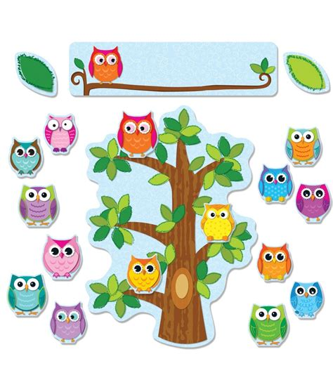 colorful owls behavior bulletin board set grade pk 5 carson dellosa publishing