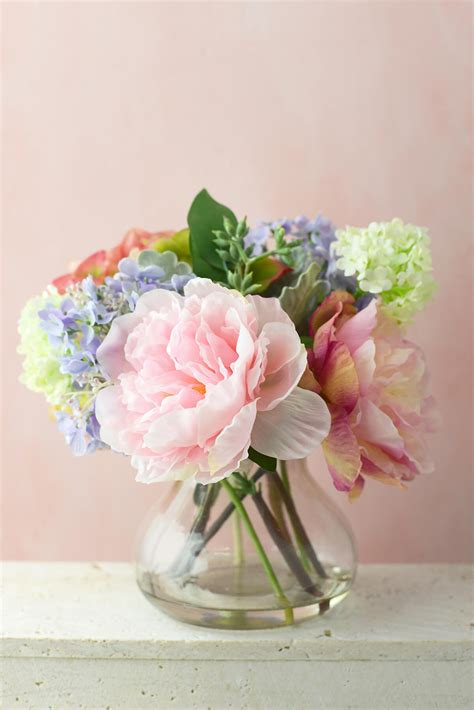 peonies in vase bouquet with hydrangeas peonies in glass vase