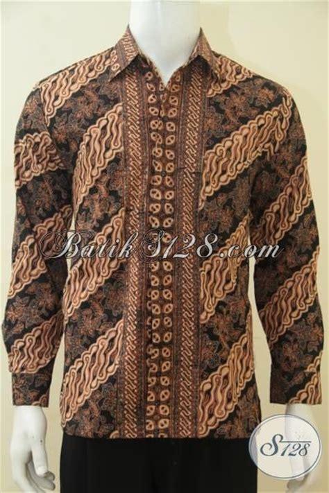 Dress Batik Tulis Halus Coklat Klasik hem batik klasik lengan panjang furing halus pakaian batik etnik warna coklat proses cap