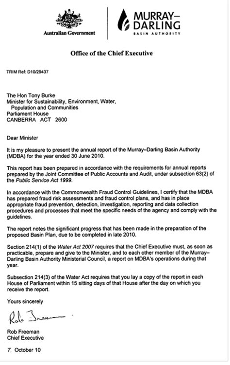 Transmittal Letter Of Audit Report Annual Report Murray Basin Authority