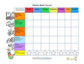 printable weekly meal tracking journal page for kids from