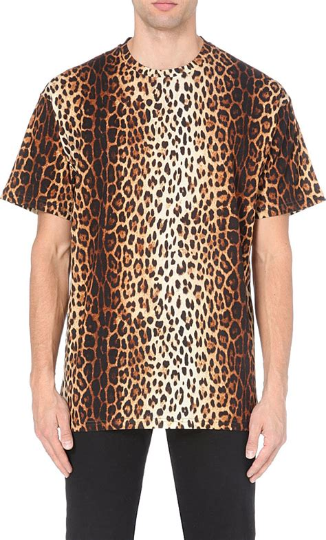 moschino leopard print t shirt in animal for brown lyst