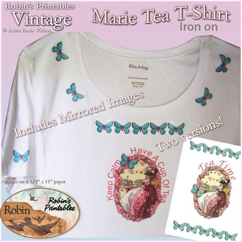 printable iron on paper hobby lobby vintage marie tea t shirt iron on robin willson designs