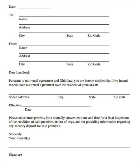rental termination letter samples templates