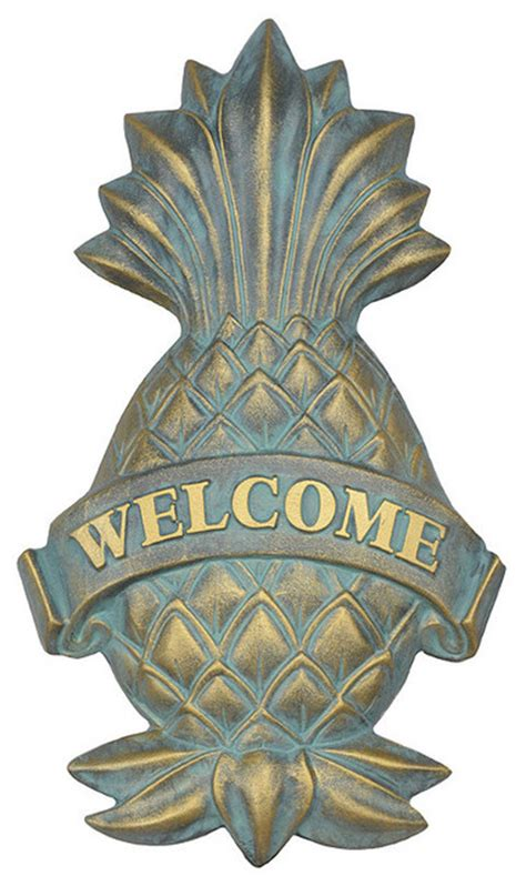 Outdoor Pineapple Decor by Pineapple Welcome Plaque Traditional Outdoor Decor