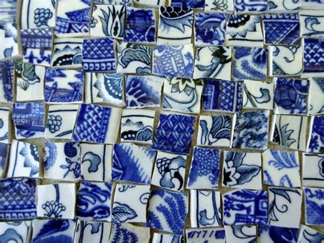 willow pattern mosaic broken china mosaic tiles antique blue willow by