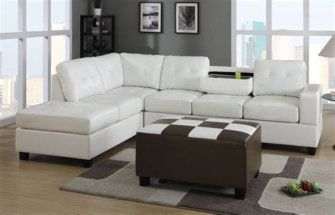 White Leather Sectional Sofa With Chaise Large White Leather Sectional Sofa With Chaise And Checkered Top Ottoman Decofurnish