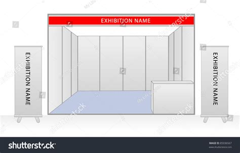exhibition stand design template blank trade exhibition stand roll banner stock vector