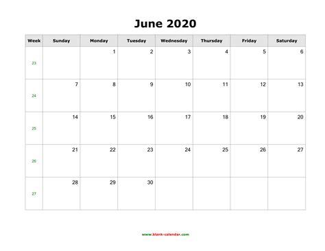 june  blank calendar   calendar templates