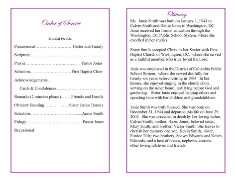 9 Best Images Of Sle Obituary Funeral Program Templates Funeral Program Obituary Template Free Downloadable Obituary Program Templates