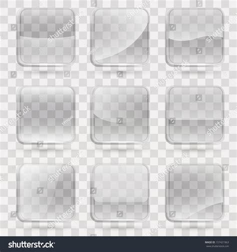 Arca Transparent Gloss Green Wb By square application transparent glass buttons app stock