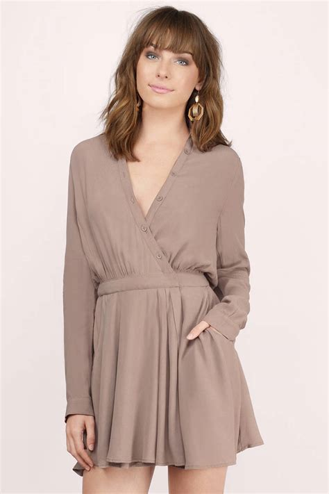 taupe color dress taupe wrap dress button up dress taupe dress