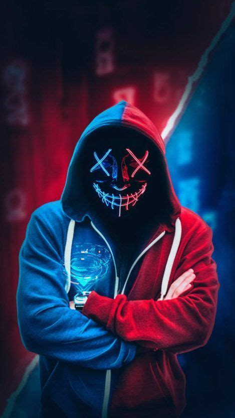 iphone hintergrundbild anonymous neon mask hoodie iphone