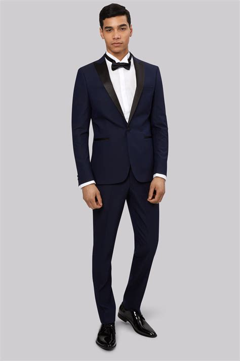Slim Fit moss slim fit midnight blue jacquard tuxedo