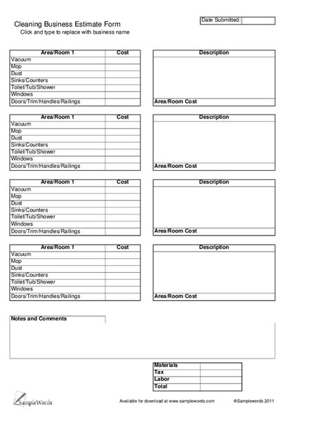 Cleaning Quotes Template Printable Commercial Autos Weblog Cleaning Business Forms Templates