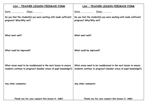 teaching feedback form template ta feedback form by akglm teaching resources tes