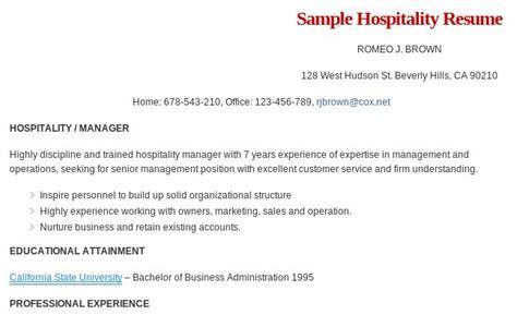 sle hospitality management resume format read more