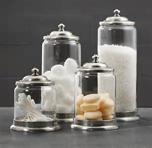 glass storage jars bathroom apothecary pewter glass bath jars