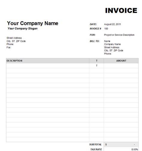 blank invoice free template joy studio design gallery