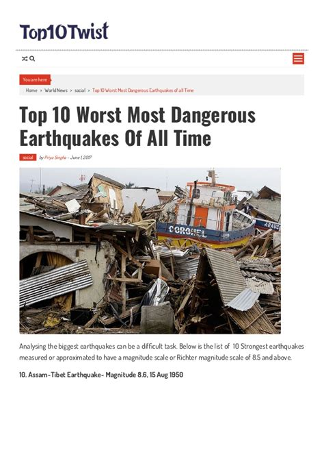 10 craziest new types of top 10 worst most dangerous earthquakes of all time