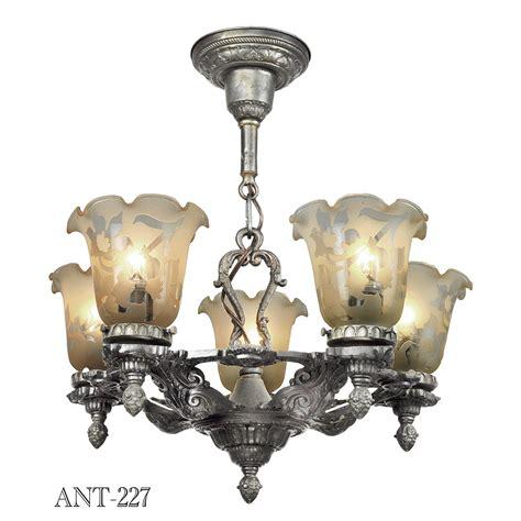 Antique Ceiling Light Fixture Edwardian 1920s Chandelier 5 Arm Antique Ceiling Light Fixture Pewter Ant 227 For Sale