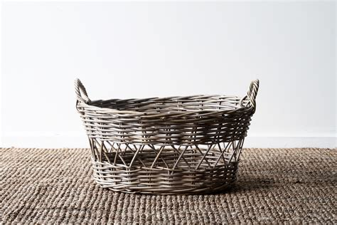 oval washing basket grey naturally cane rattan