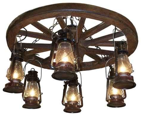 Wagon Wheel Chandelier Country Cottage Amberwood Black Lanterns 36 Quot Wagon Wheel Chandelier Traditional
