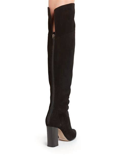 alexandre birman petals suede the knee boots in black