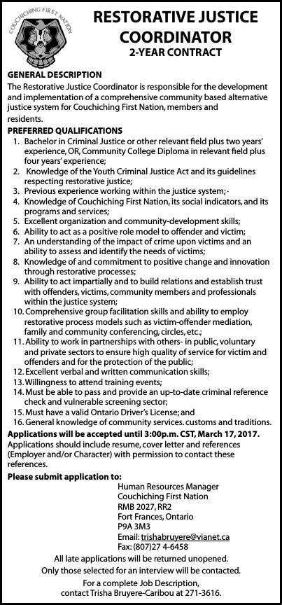 Restorative Cover Letter by Restorative Justice Coordinator Anokiiwin Connect