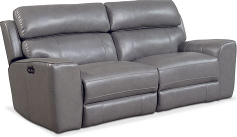 gray reclining sofa newport 2 piece power reclining sofa gray american
