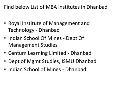 Mba In Mining Management In India by List Of Mba Institutes In Dhanbad