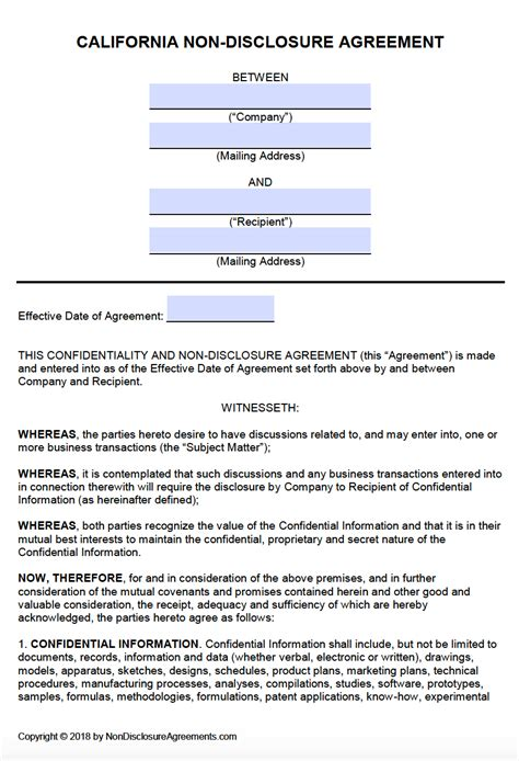 Free California Non Disclosure Agreement Nda Template Pdf Word Free Non Disclosure Agreement Template California