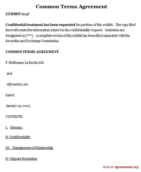 terms of agreement template common terms agreement sle common terms