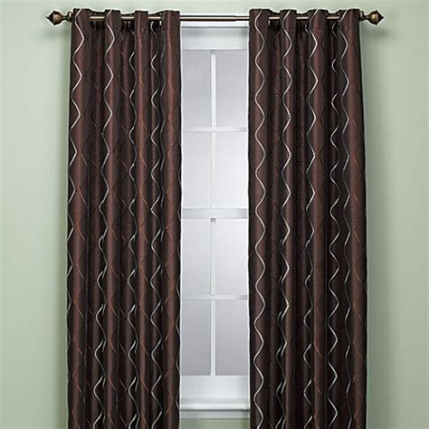 chocolate brown and blue curtains delano 72 inch window panel in chocolate bed bath beyond