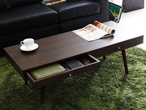 Living Room Center Tables Modern Center Table With 2 Drawers Walnut Finish Living Room Center Table Design Rectangle