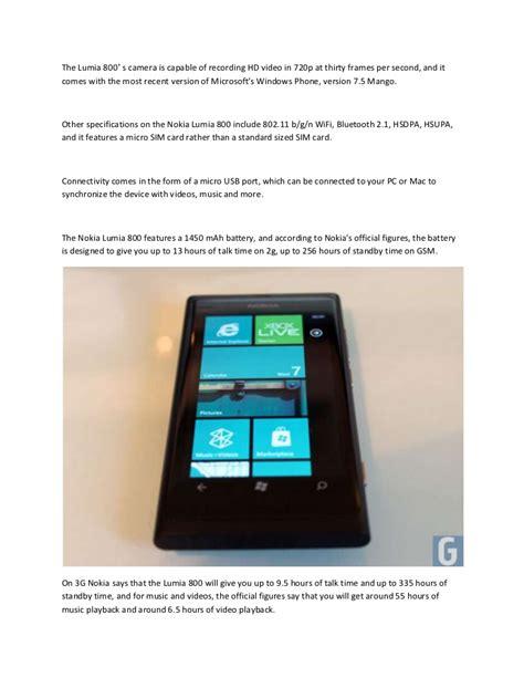 Nokia Lumia 800 Second nokia lumia 800 review and specs