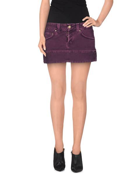 dondup denim skirt in purple lyst