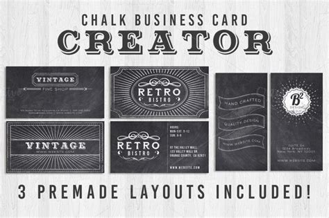 chalk business card creator business card templates on