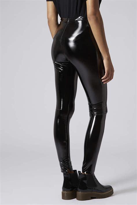 look legging in vinyl clothing women lyst topshop vinyl leggings in black