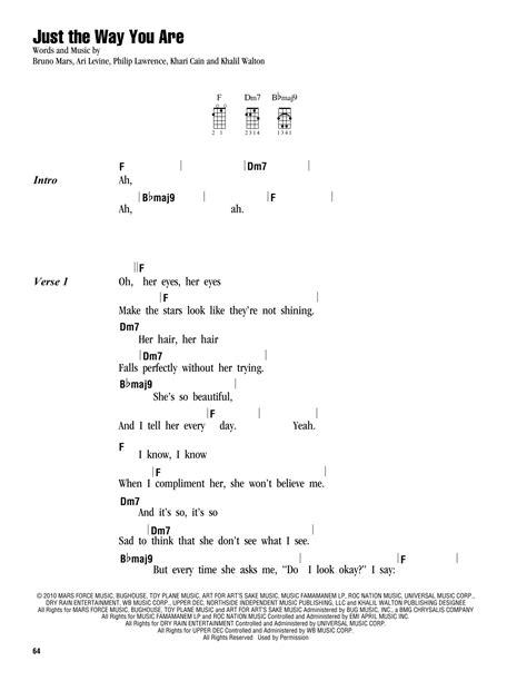 Just The Way You Are Sheet Music | Bruno Mars | Ukulele