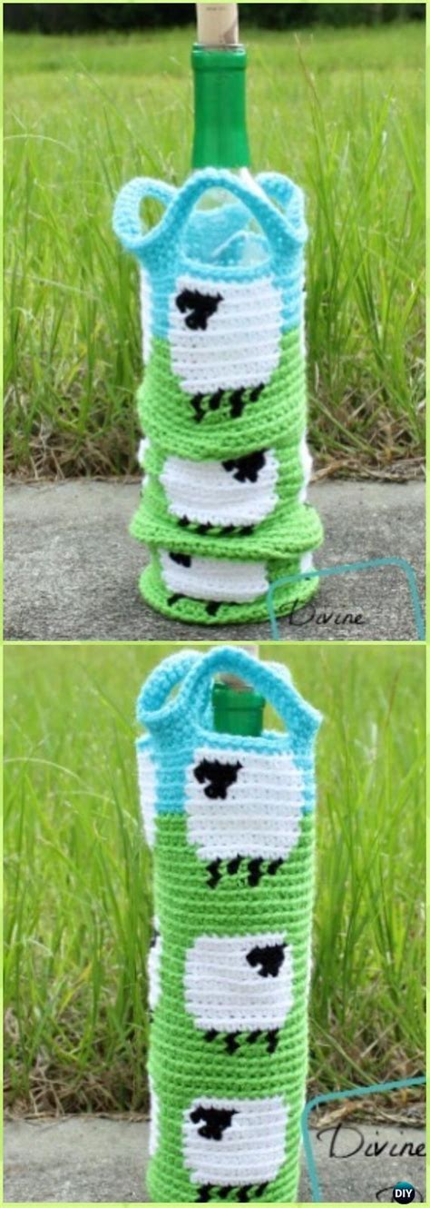 crochet wine bottle cozy bag sack  patterns