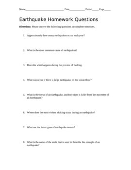 earthquake quiz questions and answers earthquake homework questions with answer key by nicolle