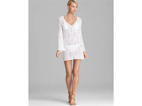 Crochet Lace Cover Up lyst milly crochet lace mykonos cover up tunic in white