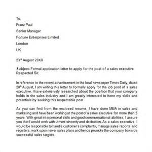 Formal Letter In Application Application Letter 9 Free Sles Exles Format
