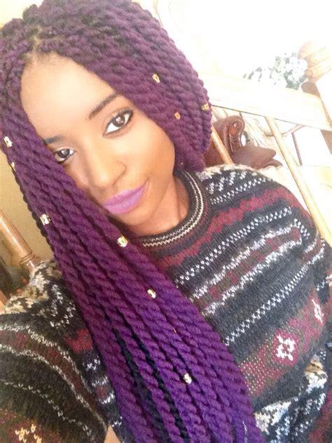wool hairstyles purple yarn twists braids twists pinterest yarn