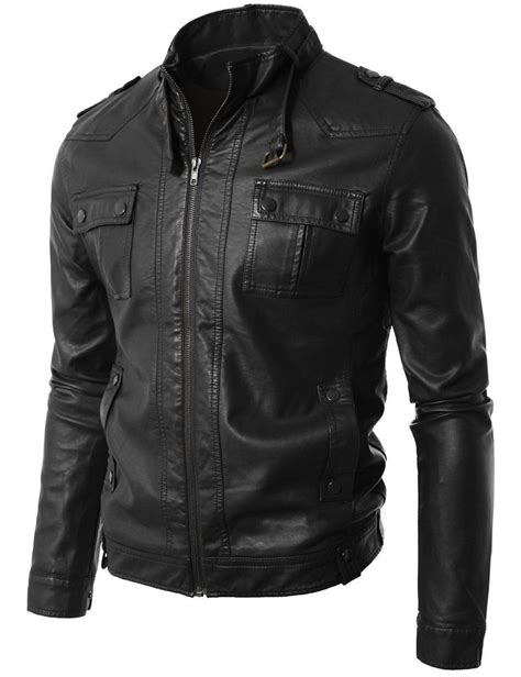 genuine leather motorcycle jacket men leather jacket black slim fit biker motorcycle genuine