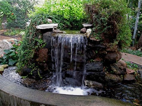 backyard feature ideas stand alone stone waterfall perfeita pinterest