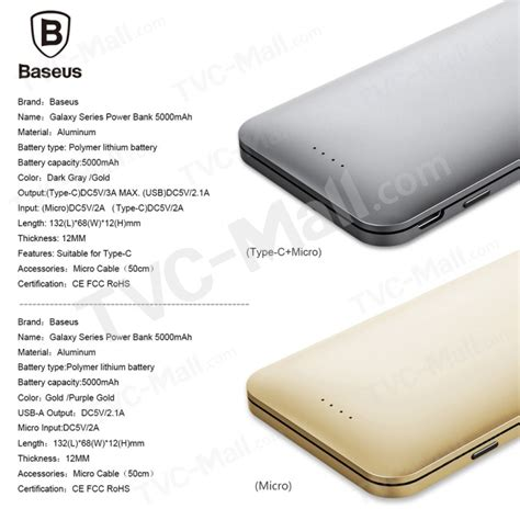 Power Bank Samsung Type A020 baseus galaxy series 5000mah power bank micro type c