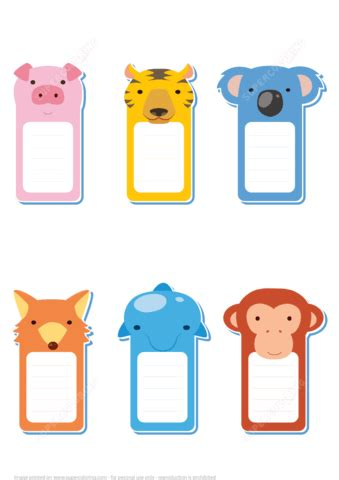 Note Papercraft - printable scrabbook memo notes with 6 animals free